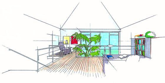 Blick in die lichtdurchflutete Galerie im Obergeschoss. (Grafik: akz/isorast)