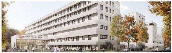 Die Außenansicht des Neubaus in Frankfurt: Laut dem neuen Entwurf sollen die Farbtöne der Fassade zurückhaltender gestaltet werden. Der Klinikbau ist insgesamt 143 Meter lang und über 23 Meter hoch. (Grafik: wörner traxler richter)